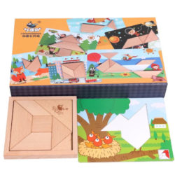 Танграм деревянный c карточками основами